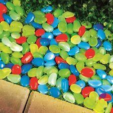 100 Pc Multi-Colored Glow in the Dark Pebbles Stones Garden Path Edging Border