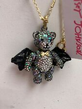 $65 Betsey Johnson bar bear pendant necklace And Boo To You  BHS