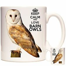 BARN OWL MUG, Keep Calm and Love Barn Owls, Matching Coaster Available.