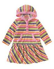 GYMBOREE CANDY SHOPPE MULTI COLOR STRIPE HOODED VELOUR DRESS 18 24 NWT