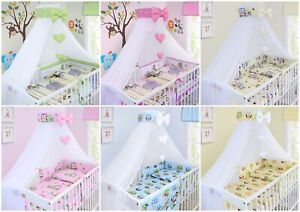 BABY NURSERY CANOPY DRAPE MOSQUITO NET WITH HOLDER TO FIT COT