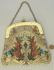 20s antique vtg BEADED PURSE multicolor deco floral w/ ivorine celluloid frame