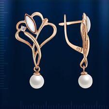 Russische Rose Rotgold 585 Ohrringe mit  Perlen und Perlamutt Neu Glänzend