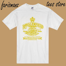New Royal Enfield Classic Motorcycle Logo Men's White T-Shirt Size S to 3XL