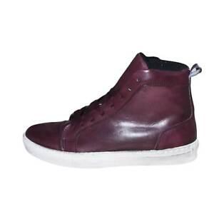 Sneakers Alta bordeaux spazzolato classico sportivo linea basic  a mano vera pel