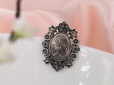 Broche Argenté Camée En Nacre Ovale Dentelle Cristal Gris Art Nouveau XZ10
