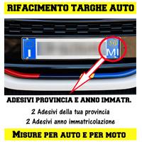 2 COPPIE ADESIVI TARGA AUTO PROVINCIA + ANNO RIPRISTINO TARGHE 2province 2immatr