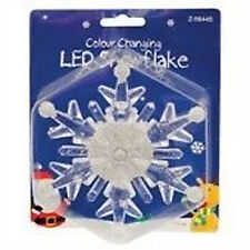 WINDOW SUCTION DECORATION COLOUR CHANGING CHRISTMAS L.E.D SNOWFLAKE LIGHT FLASH