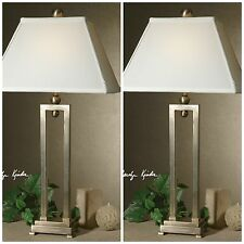 TWO NEW SILVER ANTIQUED STAIN TABLE LAMPS WHITE RECTANGULAR BELL SHAPED SHADES
