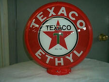 gas pump globe TEXACO ETHYL reproduction 2 glass lense