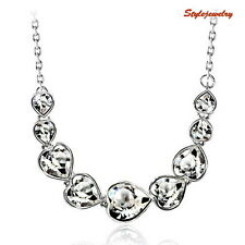 White Gold Filled Made with Swarovski Crystal Heart Bridal Wedding Necklace N198
