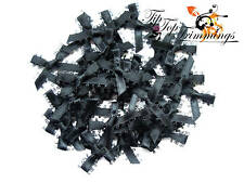CLEARANCE SALE 40 BLACK PICOT EDGED SATIN BOWS, ENTIRE BOW 30MM WIDE 99p
