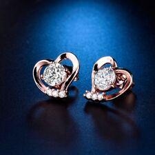 Women Rose Gold Filled Bling Rhinestone Crystal Smart Love Heart Stud Earrings