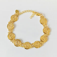 Coin Bracelet Persian Bracelets 24k Gold Plated Size 7.5 - 9.0 inches 12mm Coins