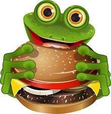 8x8cm Aufkleber lustiger Frosch Hamburger Fast Food Imbiss Sticker Autoaufkleber