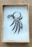 London 2004 Fully Hallmarked Sterling Silver Marcasite Brooch Pin Free Postage