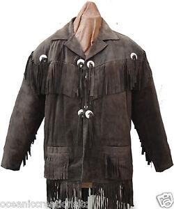 Mens Brown Motorcycle Cowboy Cruiser Fringe Tassle Cowhide Suede Leather Jacket