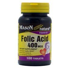 Mason Natural Folic Acid 400 mcg Tablets 100 ea (Pack of 2)