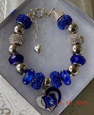 NCAA DUKE BLUE DEVILS Crystal Charm Bracelet with bonus charms