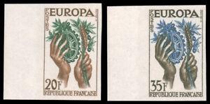 FRANCE Maury 1122-1123 MNH CV€300.00 1957 EUROPA IMPERF [846-847]