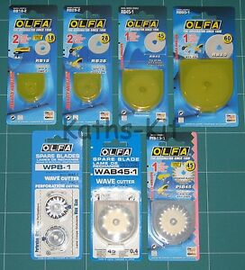 OLFA Rotary Cutter Circular Spare Blades Select from RB18 RB28 RB45 RB60 PIB45