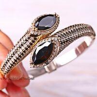 Turkish Jewelry Handmade Sterling Silver 925 Black Onyx Bracelet Bangle Cuff