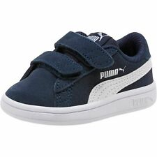 Puma Smash v2 SD V Inf Low Top Children Shoes Trainers 365178 Peacoat White Blue