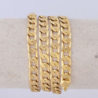 """vintage Mens Jewelry 18K yellow Gold Filled Real Cuban Chain 24"""" long Necklace"""