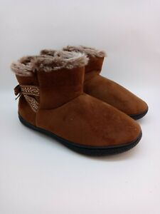 ISOTONER-BROWN-FUR TRIM-FAUX SUEDE-MEMORY FOAM-BOOT-SLIPPERS-WOMAN SIZE-8.5-9