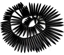 "20-48mm Black Turquoise Graduated Spike Beads 18"""