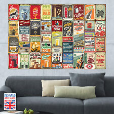 Party Metal Signs Collage Mural - DIY Interior Home Décor - Made in UK