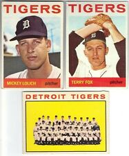 5 1964 TOPPS BASEBALL DETROIT TIGERS CARDS (LOLICH RC/TEAM CARD+++) - BV $44