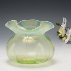 A John Walsh Walsh Vaseline Tricorn Vase c1900