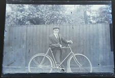 MAN WITH BICYCLE - ANTIQUE GLASS NEGATIVE c1910