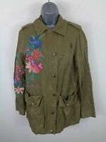 WOMENS PER UNA KHAKI GREEN FLORAL EMBROIDERED ZIP/BUTTON UP COAT JACKET SIZE 8