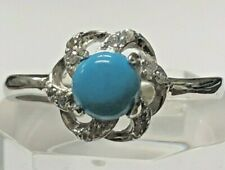 Sterling Silver 925 Adjustable Ring With Turquoise And Brilliant Cut Quartz
