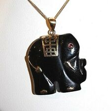 Onyx Elephand with 14k YG accents and Chain 25mm x 25mm