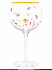 Gin and tonic glass bumble bee Balloon glass hand decorated goblet present gift