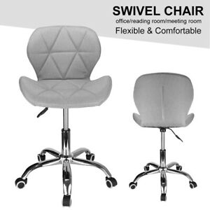 Cushioned Computer Desk Office Chair Chrome Legs Lift Swivel Small Adjustable