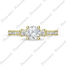 Silver Womens Anniversary Ring 14K Gold Fn Three Stone Round Cut Cz 925 Sterling