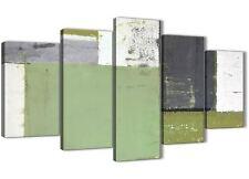 XL Verde grigio Pittura Astratta stampe su tela arte - 5 Panel-larghezza 160 cm - 5337