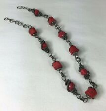 Artisan Made Necklace Loaded with Sterling Silver Wire Wrap Natural Coral Beads