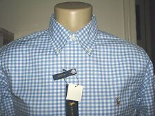 SLIM FIT $98. (M) POLO-RALPH LAUREN Blue Gingham STRETCH Oxford Shirt