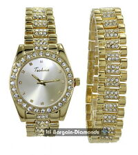 mens gold tone CZ ice out clubbing watch + bracelet gift set techno