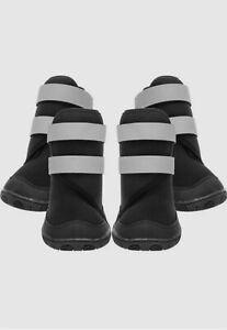 "BingPet Dog Boots Waterproof 4 Pcs #11 3/.1"" x 2.7"" Reflective Black Grey"