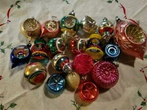 Lot 18 Antique Vintage MCM Glass Christmas Tree Ornaments Indented Teardrop ++