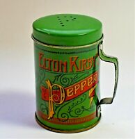 Vintage Elton Kirby's Decorative Pepper Tin Shaker with Easy-Grip Handle Green
