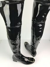 New Tory Burch Over The Knee Boots Black Patent Leather Size 6 OTK MSRP $575