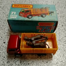 MATCHBOX 71 CATTLE TRUCK 1976 WITH BOX LESNEY MADE IN ENGLAND GREAT CONDITION