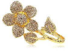 2 Fingers Daisy Golden Tone Topaz Smokey Light Crystal Rhines Flower Ring